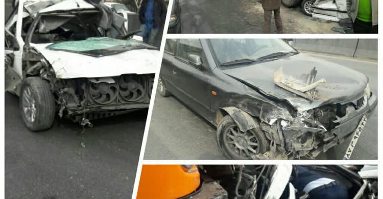 تصادف زنجیرهای شدید در کمربندی نجفآباد+ تصویر