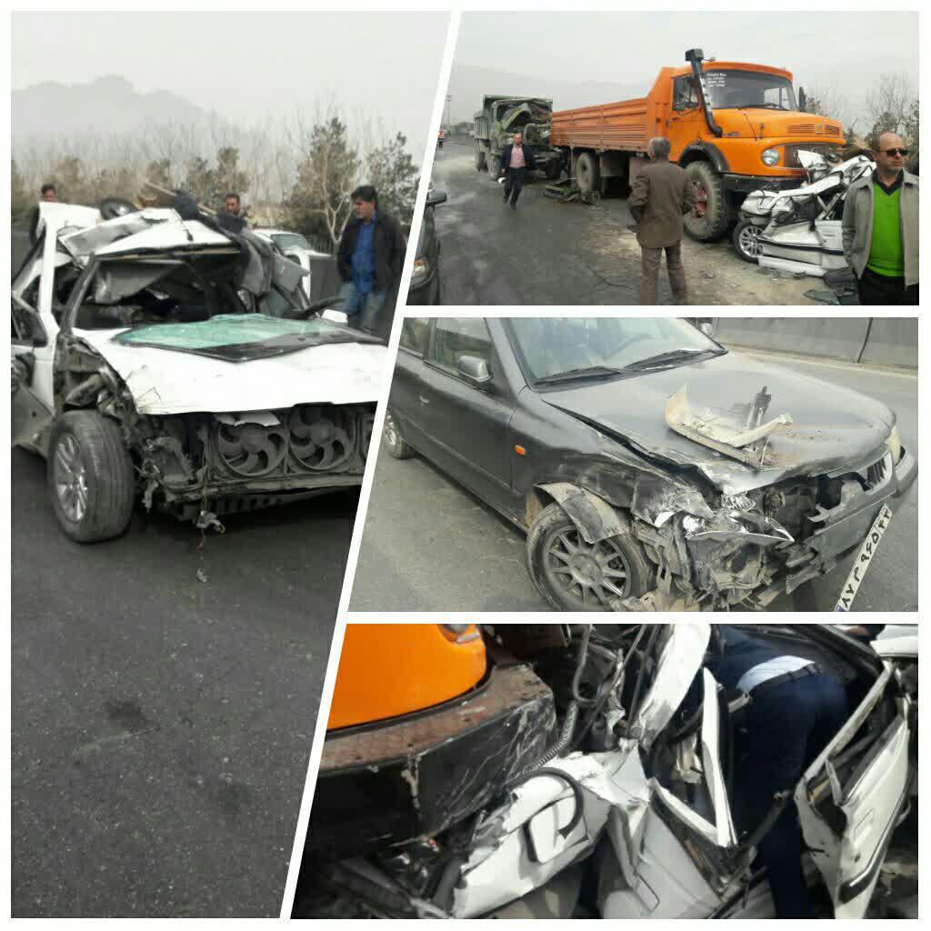 تصادف زنجیرهای شدید در کمربندی نجفآباد+تصویر