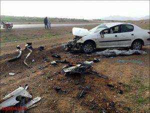 تصادف و آتش سوزی کشته کشته و زخمی شدن سه نفر در کمربندی نجف آباد                               2 300x225