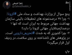 توییت زهرا شیخی نماینده مجلس معامله با سلامت و معیشت مردم به بهانه کرونا معامله با سلامت و معیشت مردم به بهانه کرونا                              300x231